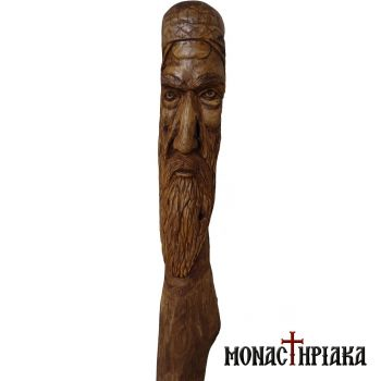 Walking Stick with Face of a Monk