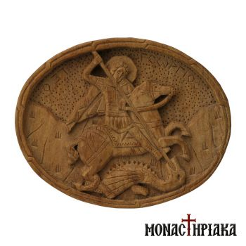 Wood Carved Buckle with Saint George