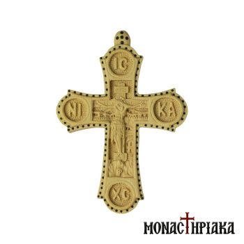"Wood Carved Cross ""IC XC NI KA"""