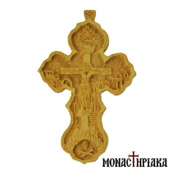 Wood Carved Cross in Heart-shaped Endings