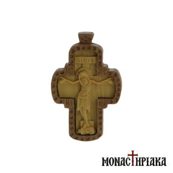 Wood Carved Cross Made of Boxwood Inserted in Mullberry Wood