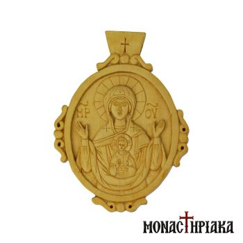 Wood Carved Encolpion with Vlachernon Virgin Mary