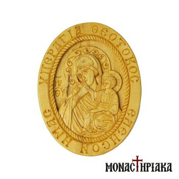 "Wood Carved Engolpion (Panagia) with ""Paramythia"" Virgin Mary"