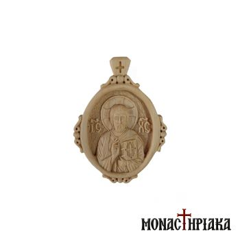 Wood-Carved Engolpion with Jesus Christ