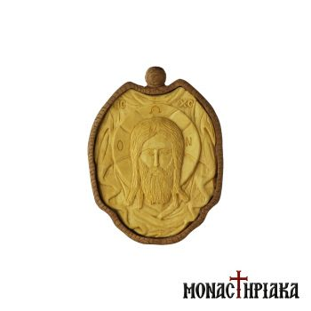 Wood-Carved Engolpion with the Holy Mandylion
