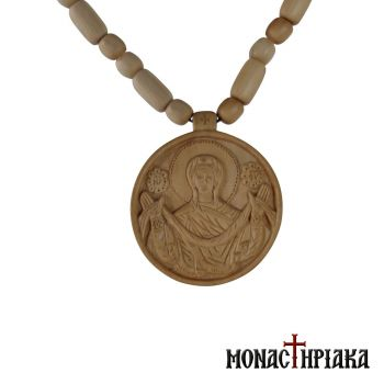 Wood Carved Engolpion with Theotokos and Wooned Chain
