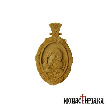 Wood Carved Engolpion with Theotokos Glykofilousa