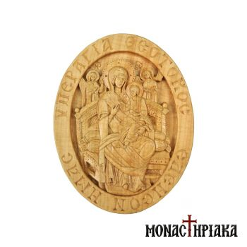 Wood Carved Engolpion with Theotokos Pantanassa