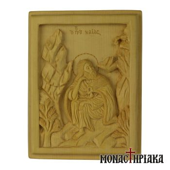 Wood Carved Icon of Prophet Elijah in a Cave