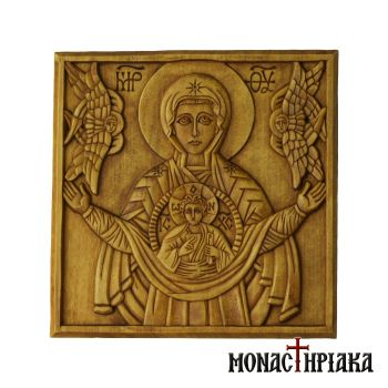"Wood Carved Icon of Virgin Mary ""Liberator"""