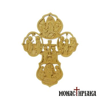 Wood Carved Multi-person Cross with Various Pictorial Representations