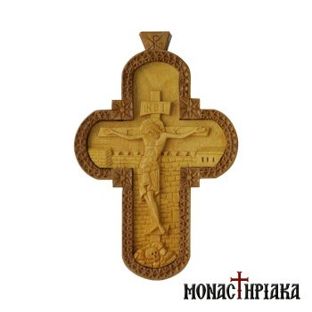 Wood Carved Pectoral Cross Made of Box and Pear Wood