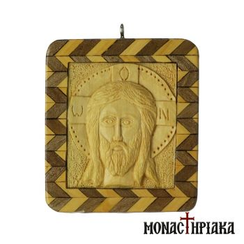"Wood Carved Square Encolpion ""Holy Mandylion"""