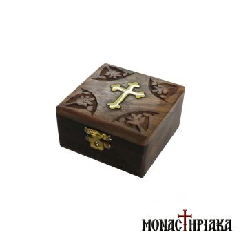 Wooden Box with Brass Cross and Engraved Decoration