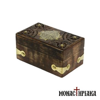 Wooden Box with Cross & Brass Decorating Elements