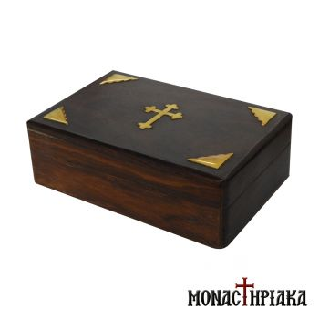 Wooden Box with Cross & Brass Elements