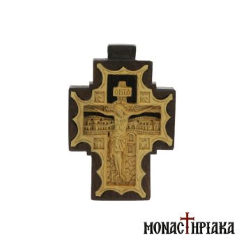 Wooden Byzantine Cross Carved on Walnut and Boxwood