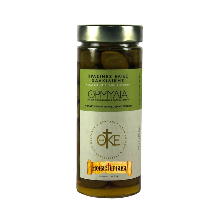 Οrganic Olives  with Athonite Oregano & Lemon - H.M. of Annunciation - 360 gr