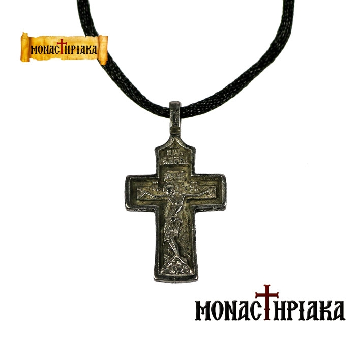 Silver Plated Neck Cross   (D)  (H. C. of the Holy Trinity on Mount Athos)
