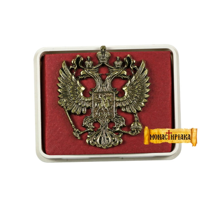 Lapel Pin Big Russian Double-Headed Eagle - Patina Silver  (kp 09)