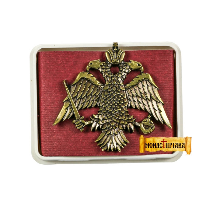 Lapel Pin Big Byzantine Double-Headed Eagle (Aged Bronze) (kp 12)