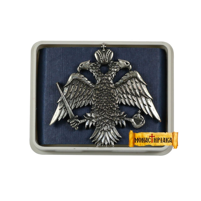 Lapel Pin Big Byzantine Double-Headed Eagle (Aged Silver) (kp 13)