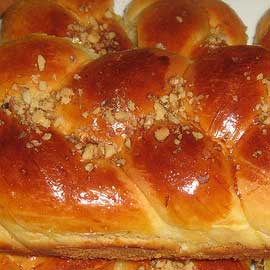 Traditional greek brioche (tsoureki)