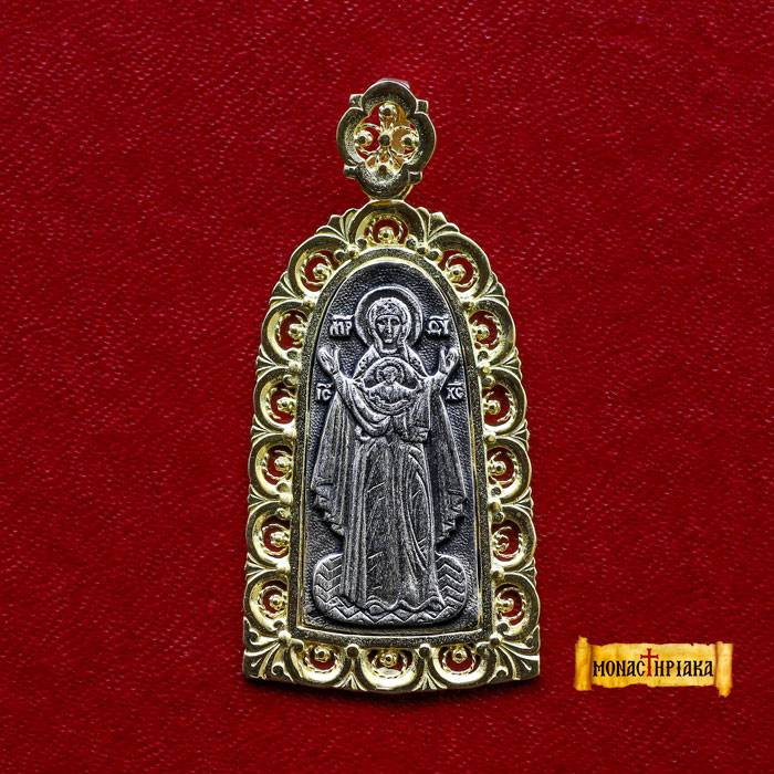Theotokos Praying Silver Pendant (Μ 08)