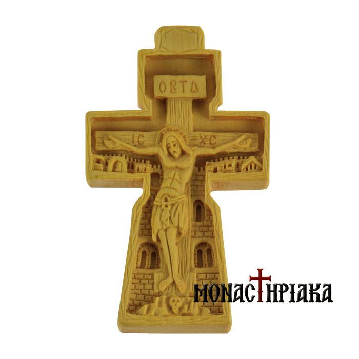 Hand Carved Wooden Cross c. 098