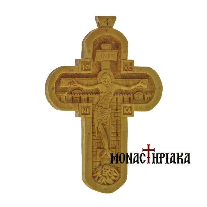 Hand Carved Wooden Cross c. 056