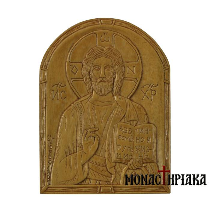 Hand Carved Wooden Icon Christ Blessing. mx 002