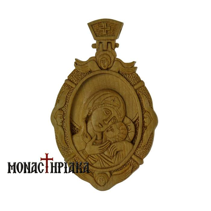 Wood Carved Engolpion with Theotokos Glykofilousa c.003