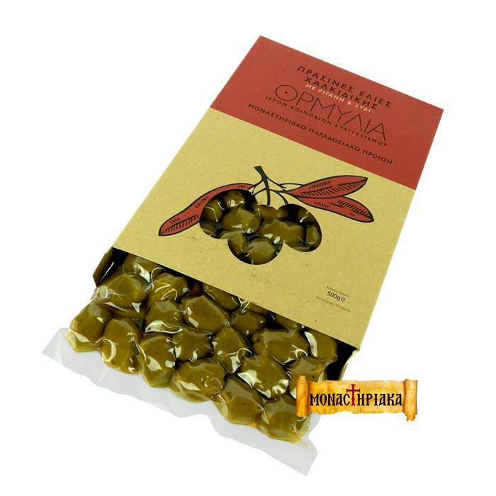 Olives with Athonite Oregano and Vinegar-  Vacuum packed - H.M. of Annunciation - 500  gr