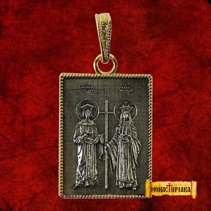 Silver pendant with Saints Konstantinos and Eleni (M 26)